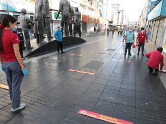 Municipalidad de Antofagasta implementa medidas preventivas para respetar el distanciamiento social en el centro de la ciudad