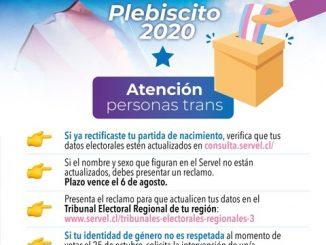 Lanzan campaña para que personas Trans actualicen datos electorales con miras al plebiscito