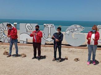 En monumento natural La Portada se inauguran letras gigantes de la ciudad